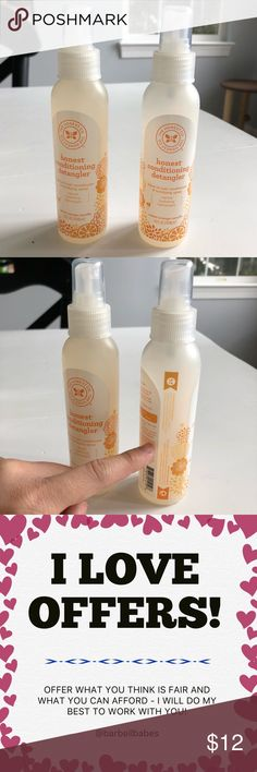 🆕 (2) Honest Conditioning Detangler One bottle is brand new and the other is about 75% used. 🐾 Pet-friendly, smoke-free home.  🚫 No trades. No holds.  📦 Fast shipping!  🙋🏻 Considering all reasonable offers! ❓ Questions? Don't hesitate to ask. The Honest Company Accessories
