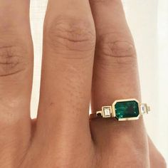 "Made of Jewelry by Sophie on Instagram: ""The Emerald & Baguette Diamond ring by @azlee_, which also has a stunning architectural side profile (check out my…"" #diamondrings"