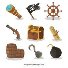 Varios elementos piratas y cofre del tesoro