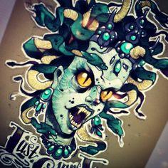 #tattoo #tattooflash #medusa #ps