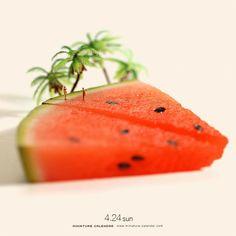""". 4.24 sun """"Seaside"""" . """"海水浴""""というより""""すいかい浴"""" . #海水浴 #スイカ #食品サンプル #SeaBathing #Watermelon . . ーーーーーーーーー #写真集第2弾発売中 #MiniatureLife2 #ミニチュアライフ2 #ネットで購入はプロフィールのURLから ."""