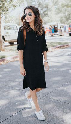 Street style look com chemise.