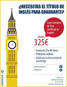 ¿Necesitas el título de inglés para graduarte?, pues esté es tu lugar. Tenemos cursos de idiomas adaptados a cada persona ... Como es nuestro nuevo curso intensivo de inglés FIRST CERTIFICATE IN ENGLISH.  Siguenos en twitter @Districteset y en facebook también https://www.facebook.com/AcademiaDistricte7?ref=hl