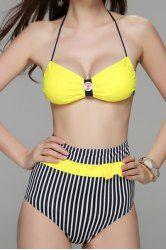 Sexy Halter Striped Bowknot Embellished High-Waisted Women's Bikini Set