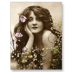 An example of a Vintage Hand Tinted Postcard. The paint gives the photo a modern feel yet the original photo looks nostalgic. An I dear I would love to try. Vintage Abbildungen, Images Vintage, Vintage Girls, Vintage Roses, Vintage Pictures, Vintage Beauty, Old Pictures, Vintage Postcards, Old Photos