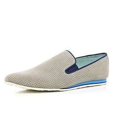 River Island - Grey suede perforated slip on shoes Plimsolls, Mens Sale, Sale Items, Slip On Shoes, River Island, Trainers, Shoe Boots, Grey, Sneakers