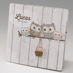 Faire-part de naissance - Hibou sur bois  Faire-part de naissance de papier luxe, avec applications