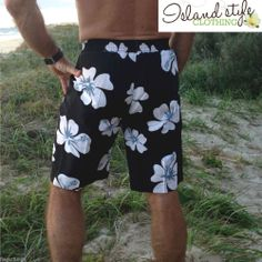 Mens Board Shorts BLACK Hawaiian Quick Dry Swimming Boardies Luau Party Surfy