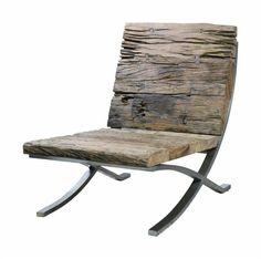 Love this chair redhousecanada: valscrapbook: beltzanet: Fauteuil Barcelona Rail Wooden Furniture, Cool Furniture, Furniture Design, Outdoor Furniture, Love Chair, Barcelona Chair, Take A Seat, Barn Wood, Chair Design