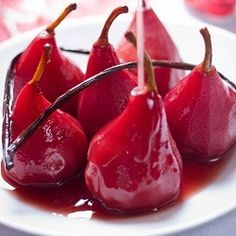 {recipe} Pears poached in red wine