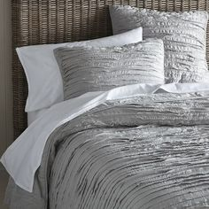 Frayed-Edge Quilt + Shams - Platinum | West Elm gray bedding