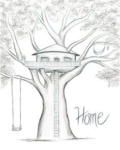 Home is Where the Tree House is - Modern Pencil Sketch Drawing, Art Drawings Sketches Simple, Pencil Art Drawings, Beautiful Drawings, Cool Drawings, Drawing Ideas, Pencil Sketches Easy, Pencil Drawing Inspiration, Realistic Drawings