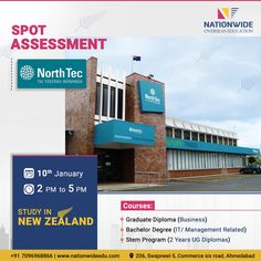 Study in New Zealand Spot Assessment for NorthTec Available Courses: ☛ Graduate Diploma (Business) ☛ Bachelor Degree (IT/ Management Related) ☛ Stem Program Years UG Diplomas) Date: January Time: 2 PM to 5 PM For more info: 📞 Study In New Zealand, It Management, Overseas Education, Assessment, January, Ahmedabad, Business, Blog, Blogging