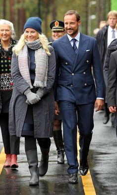 Norwegian Crown Prince Haakon and Crown Princess Mette-Marit September on the first day of their visit in the southern county of Vest-Agder, 17.09.13