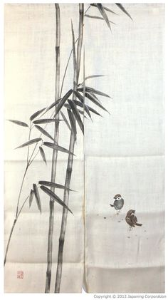 """Bamboo and Sparrows (100% jute) (33 1/2""""W x 59""""L) - Jute noren 