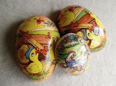 vintage German paper easter eggs set of 3 halves by AtticAntics, $9.50