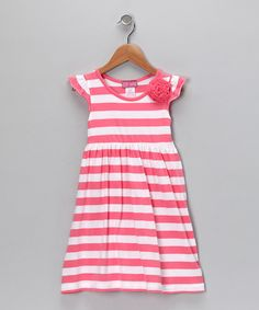 Take a look at this Coral & White Stripe Cap-Sleeve Dress - Infant, Toddler & Girls by Longstreet