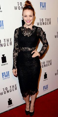 Look of the Day › April 10, 2013WHAT SHE WORE McAdams looked lovely in her lace Maria Lucia Hohan LBD, satin headband and platform stilettos at the To The Wonder premiere.