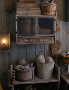Primitive fall Pumpkin Seeds cupboard at Sweet Liberty Homestead