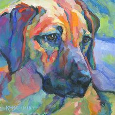Louisiana Edgewood Art Paintings by Louisiana artist Karen Mathison Schmidt: Tess, portrait of a Rhodesian Ridgeback