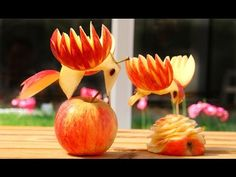 Art In Apple Birds   Fruit Carving Garnish   Food Decoration   Party Gar...