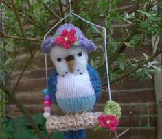 """Knitted Budgie  """" Candy"""" mini bear artist  needle felted    OOAK"""