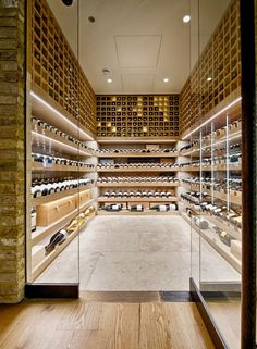 Wine cellar with modern design. Check out the rest of our Dream Cellars board. Cave A Vin Design, Caves, Home Wine Cellars, Wine Cellar Design, Wine House, Wine Display, Wine Wall, Wine Cabinets, Tasting Room