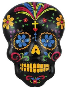 Created in imitation of the calavera skulls sculpted of sugar during the Mexican celebration of the Day of the Dead, this wall plaque depicts the image of a black skull that has been decorated with the colorful patterns of flowers, crosses, and similar bright designs. This imagery is intended as celebration of the dead, and offered in reverence of one`s ancestors. Hang the black Day of the Dead skull wall plaque within your sacred space to offer your respect to the ancestors in turn. O…