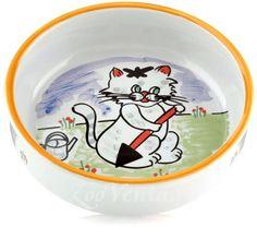 Миска Beeztees Cottager для кошек фарфоровая с изображением кошки, 275 мл*14 см