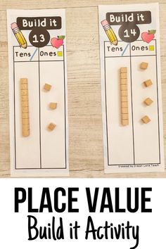 Place Value Build it - Activity Mats Kindergarten First Grade Place Value Activities, Numeracy Activities, Math Place Value, Math Games, Teaching Place Values, Teaching Math, Math Numbers, Teen Numbers, Math Lesson Plans
