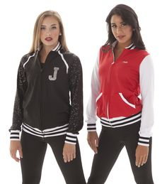 Varsity letter jackets- sparkly sleeves- Striped trim- perfect for team jackets or hip hop jackets!