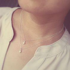 Mehrschichtige Halskette CZ Drops geschichteten von NinaKuna