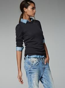 Casual cool yet stylish chic in washed denim, sweater and button down shirt.