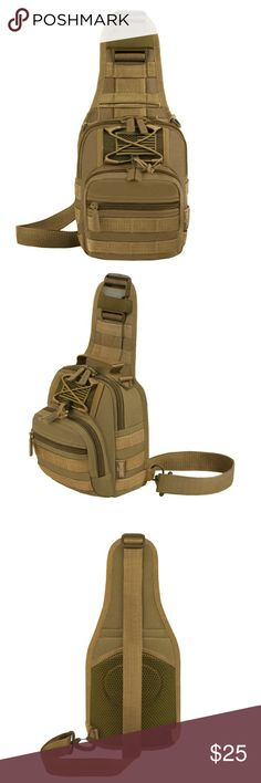 "Mini tan 10"" Sling Bag Mini tactical bag with adjustable shoulder and compression straps; convertible bag (chest pack, messenger bag, shoulder bag, handbag); great for using outdoors or for everyday carry MOLLE external expansion system designed to be used in combination with other equipment for customized attachments; free American flag patch.One main compartment with pockets inside for organized storage; two zippered front pockets with versatile organizers inside Size: 7.5""L x 10""H x 3""W…"