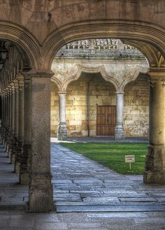 Claustro de la Universidad de Salamanca (University of Salamanca), Castilla y León, #Spain. ) It was founded in 1134 and given the Royal charter of foundation by King Alfonso IX in 1218. It is the oldest founded university in Spain and the third oldest European university in continuous operations.