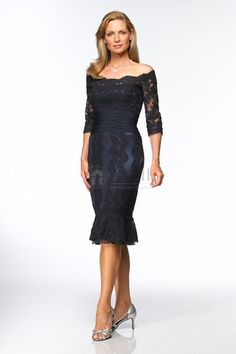 Lace Overlay Mother Of The Bride Dress With Sleeves