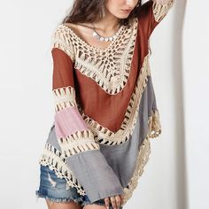 Lace V Neck Crochet Kimono Loose Blouse