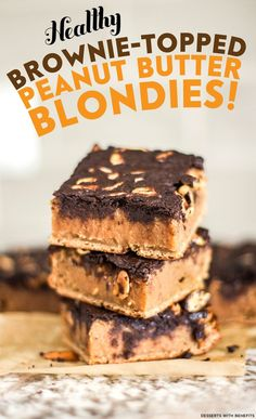 These Wholesome Brownie-Topped Peanut Butter Blondies consist of a fudgy and dense Peanut Butter Blondie base, a few big sprinkles of rich and crunchy Peanuts, and a decadent and delicious Brownie Topping. (refined sugar free, high protein, high fiber, gluten free, dairy free, eggless, vegan)