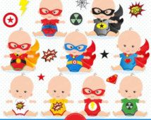 70% OFF SALE Superheroes baby clipart, superheroes tees, superhero babysuit, baby superhero, baby clothes clipart - CA172