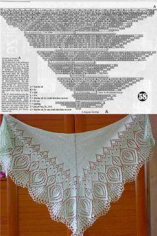 Gilet Crochet, Knitted Shawls, Crochet Shawl, Knit Crochet, Lace Knitting, Knitting Stitches, Knitting Patterns Free, Shawl Patterns, Lace Patterns