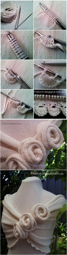 Knitting Summer Rose Capelet with Tutorial #Knitting #Rose #Capelet