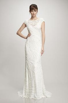 Gia - #890218 - Porcelain glass and mirror sequin hand emboidered art nouveau gown