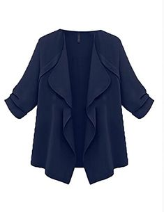 7eea5041f42 ZSN Women s Classic Solid Shirt Plus Size Loose Open Front Cardigan Coat  Navy Blue US L