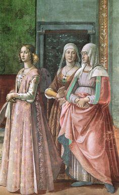 "renaissance-art: "" Domenico Ghirlandaio c. Birth of St John the Baptist (detail) "" Costume Renaissance, Renaissance Mode, Renaissance Kunst, Renaissance Portraits, Renaissance Paintings, Renaissance Fashion, Renaissance Clothing, Italian Outfits, Italian Fashion"