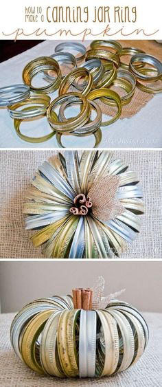 Make a rustic pumpkin from mason jar lids! via Bergthold | Yellow Bliss Road.....spray painted orange would look even better: