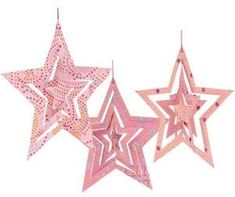 Pink Origami Paper Star Ornaments