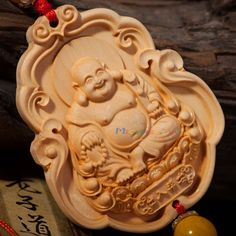 Chinese Feng Shui Car Pendant Boxwood Carved Laughing Buddha Safe Amulet Hanging