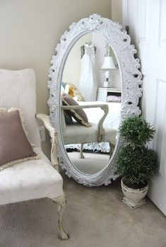 Huge Vintage Shabby Chic Mirror , Baroque Framed Oval Mirror