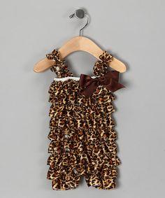 Brown Cheetah Ruffle Romper