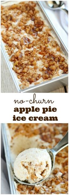 Dessert Recipes - No Churn Apple Pie Ice Cream - Smooth and creamy ice cream filled with brown sugar, cinnamon, and tender apples. Tastes just like apple pie! No ice cream maker needed! Apple Pie Ice Cream, Ice Cream Pies, Ice Cream Treats, Ice Cream Desserts, Homemade Ice Cream, Ice Cream Recipes, Gelato Ice Cream, Ice Cream Flavors, Ice Cream Maker